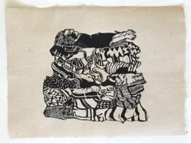 houtdruk op handgeschept papier